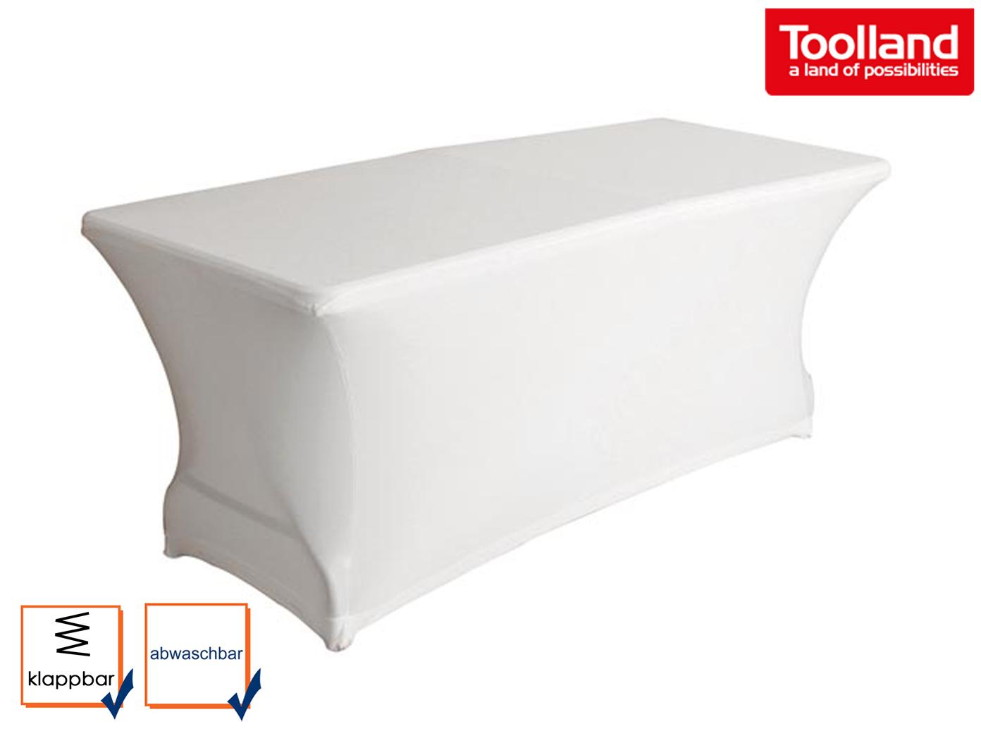 Klappbarer Tisch mit Husse in weiß 180 x 75cm Gartentisch Campingtisch stabil
