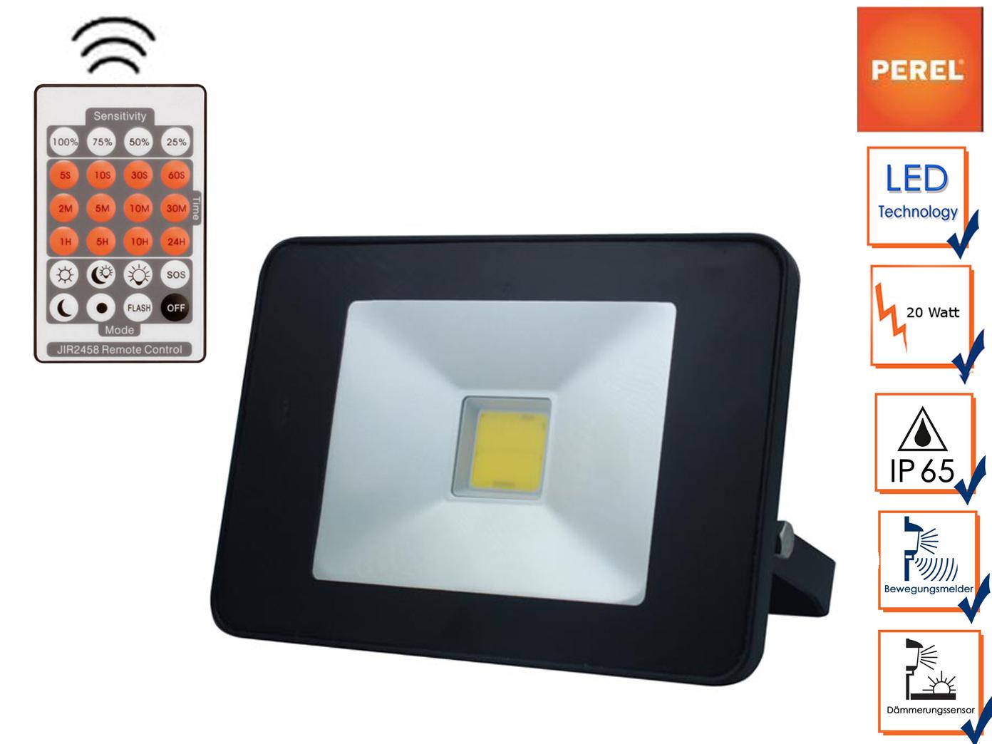 LED Strahler 20W mit Bewegungsmelder und Fernbedienung, Außenleuchte Flutlicht