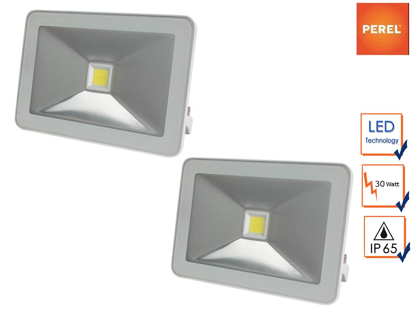 2er Set Perel LED Flutlicht Strahler 30W Baustrahler weiß, Scheinwerfer außen