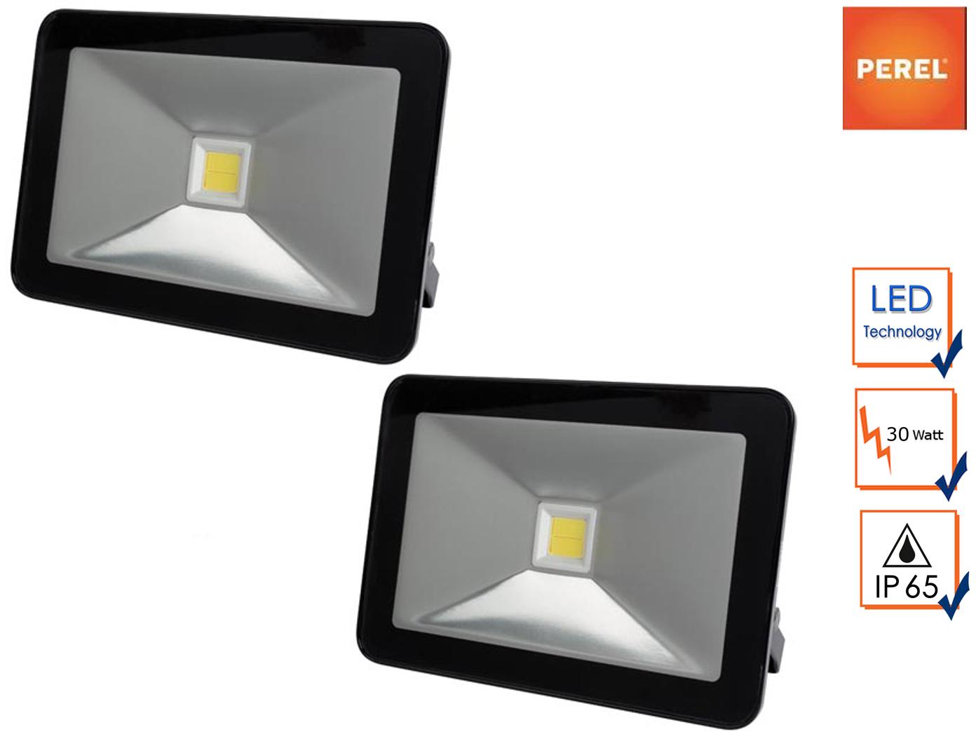 2x 30W LED Strahler Außenscheinwerfer warmweiß, Baustelle Flutlicht Baustrahler