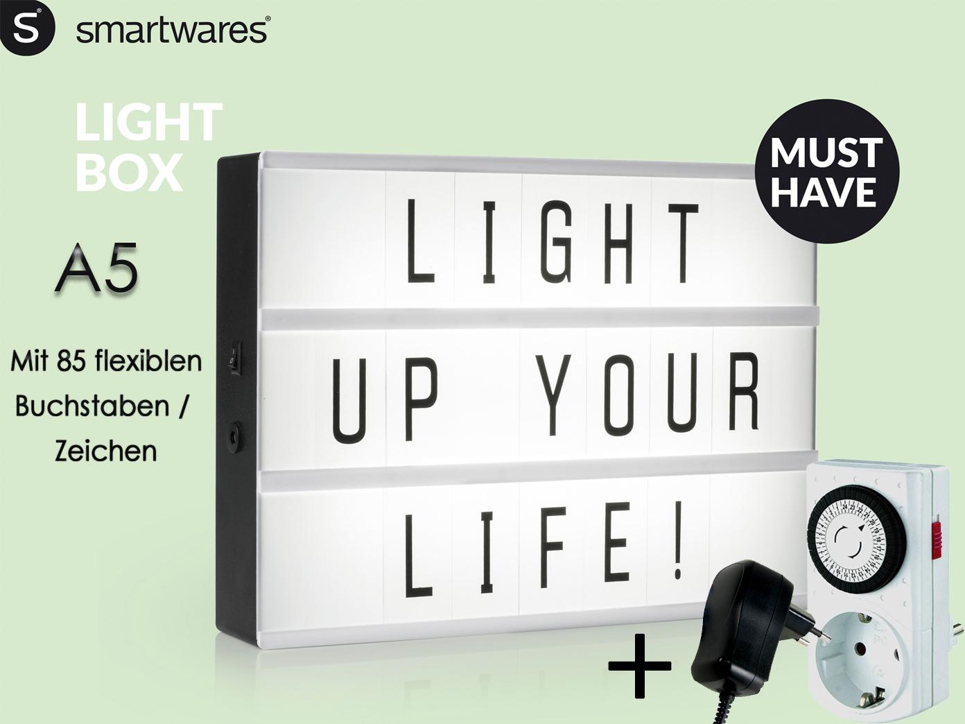 Lichtschild A5 mit 85 Buchstaben Trafo /& Zeitschaltuhr Light Box Werbung XMAS