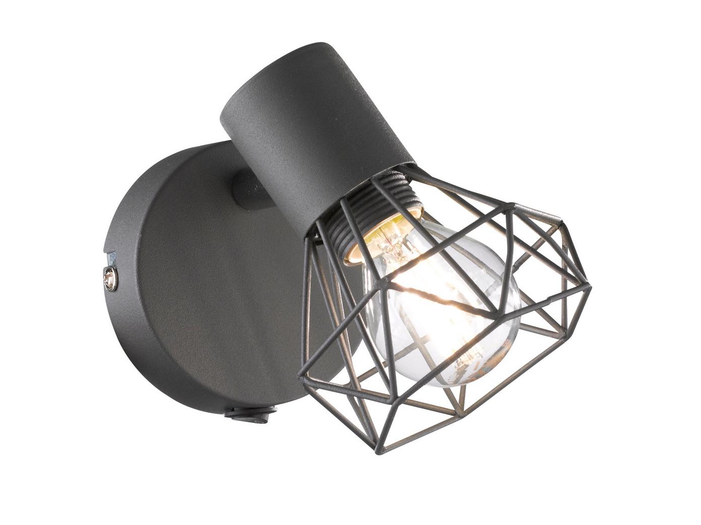 Matt Graue Wandleucht Spot drehbar E14 Wandspot Wandstrahler Dielenlampe