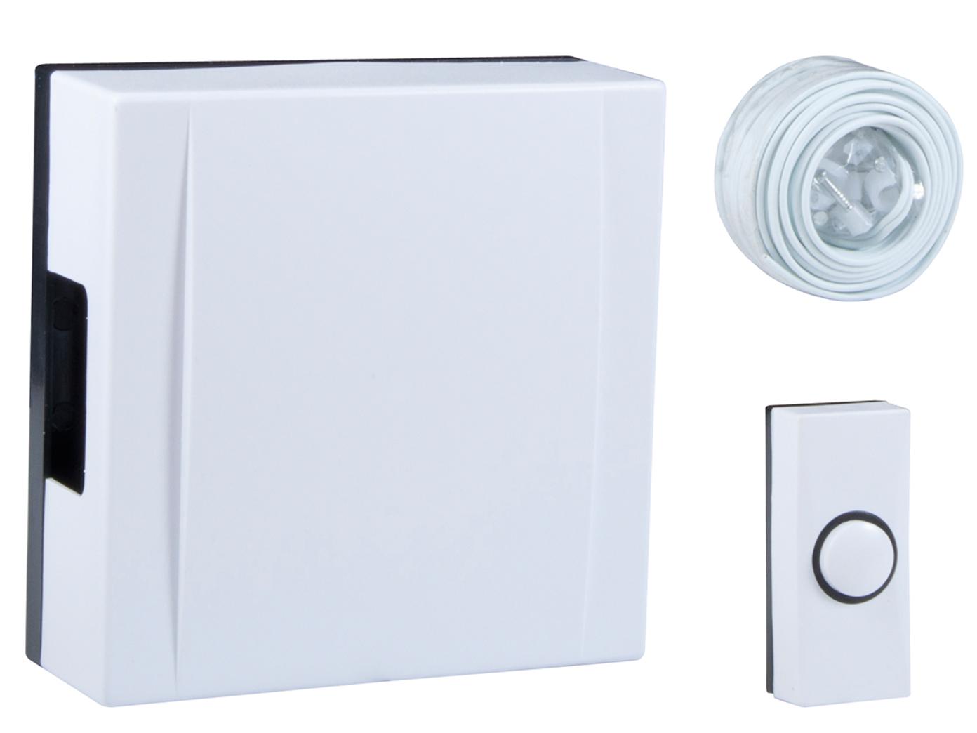 Haus Klingelanlage Elektrisches Türklingelset mit Klingeltaste /& Türglocke weiß
