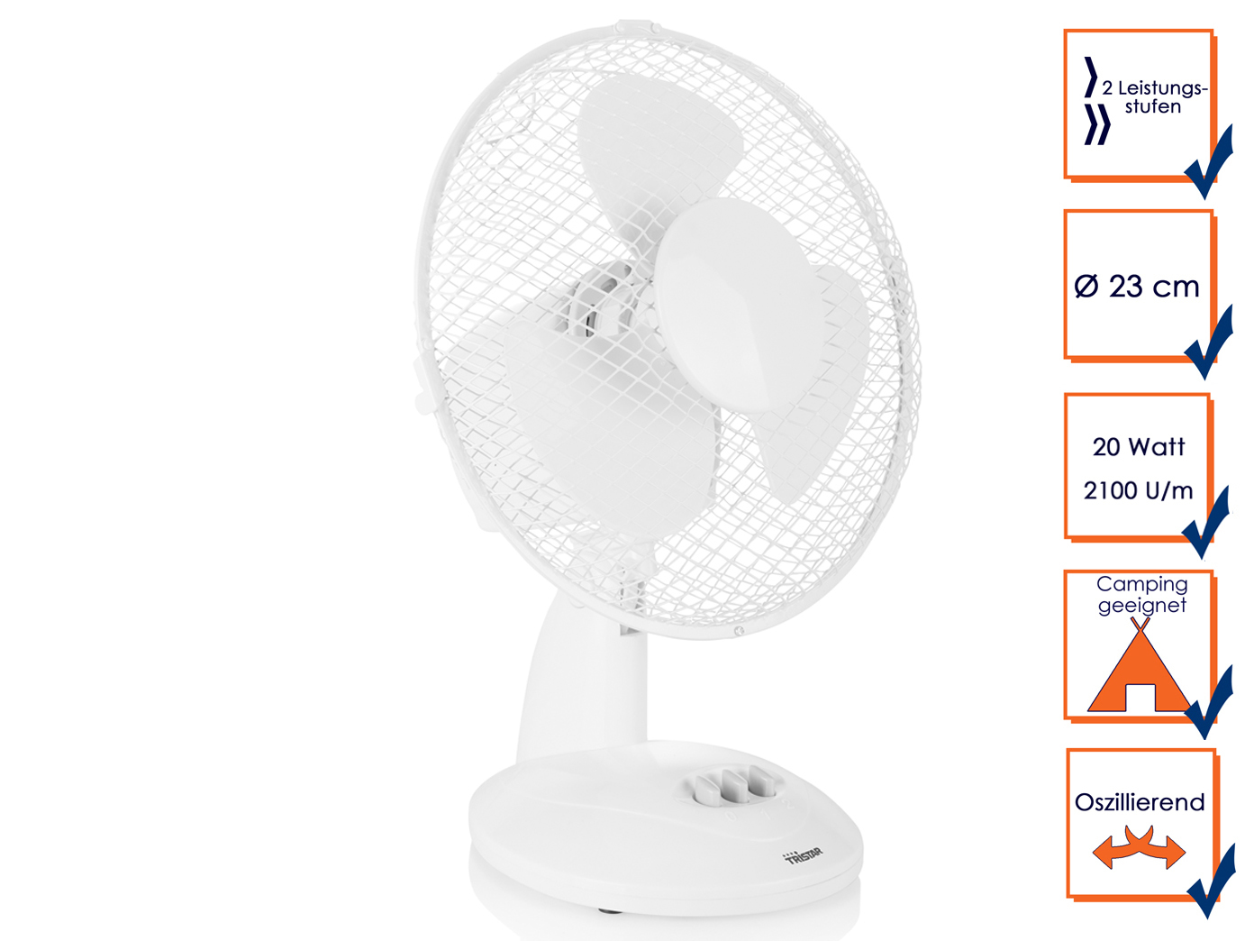 Luftkühler Bodenlüfter Praktischer Tristar Tischventilator Schwenkbar in Weiß