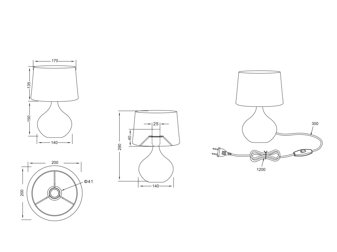 Designer LED Tischleuchten Keramik Textilschirm rund moderne Wohnzimmerlampen