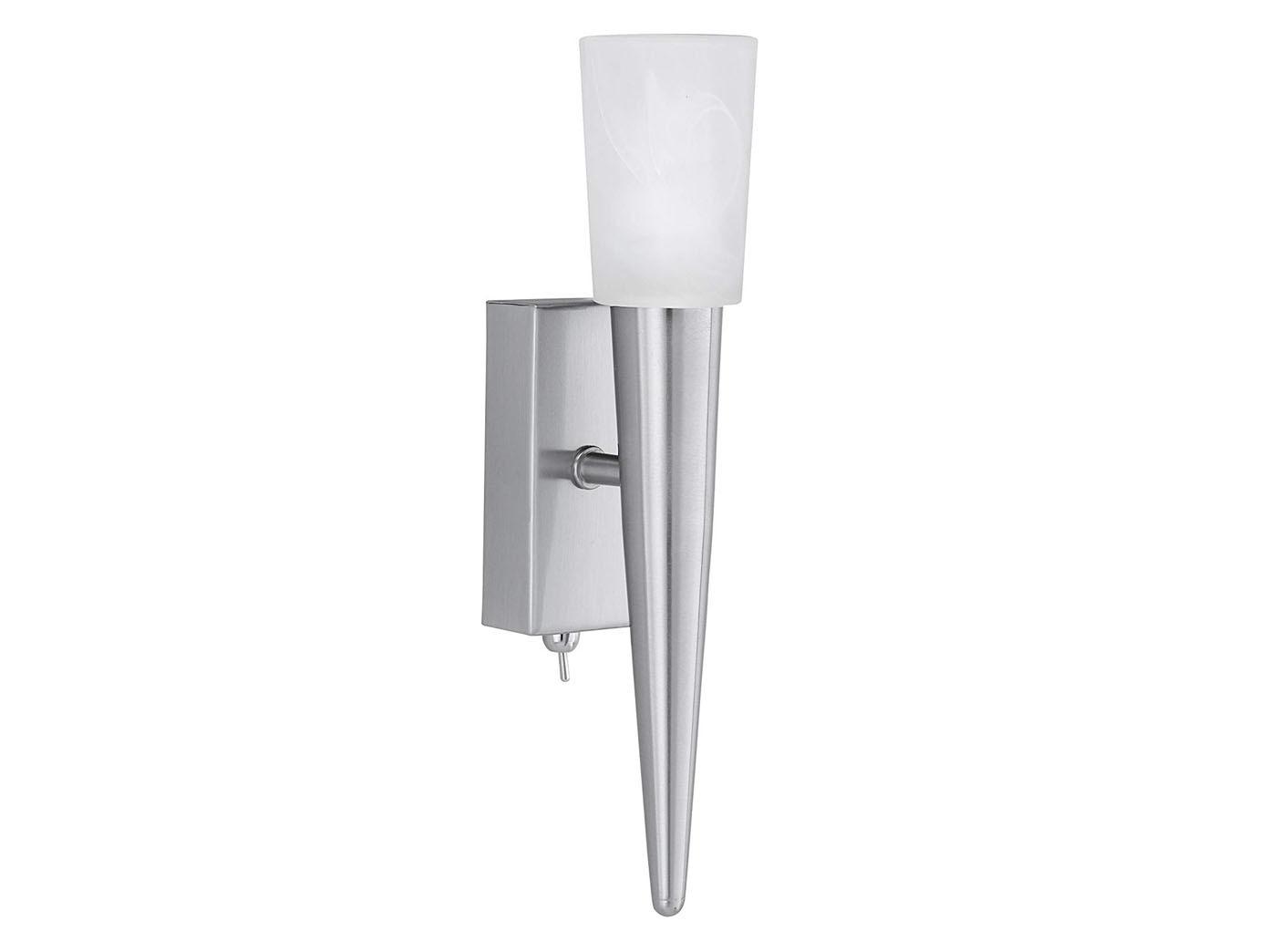 Halogen Wandbeleuchtung Glas Alabaster Nickel matt Trio-Leuchten Höhe 27 cm