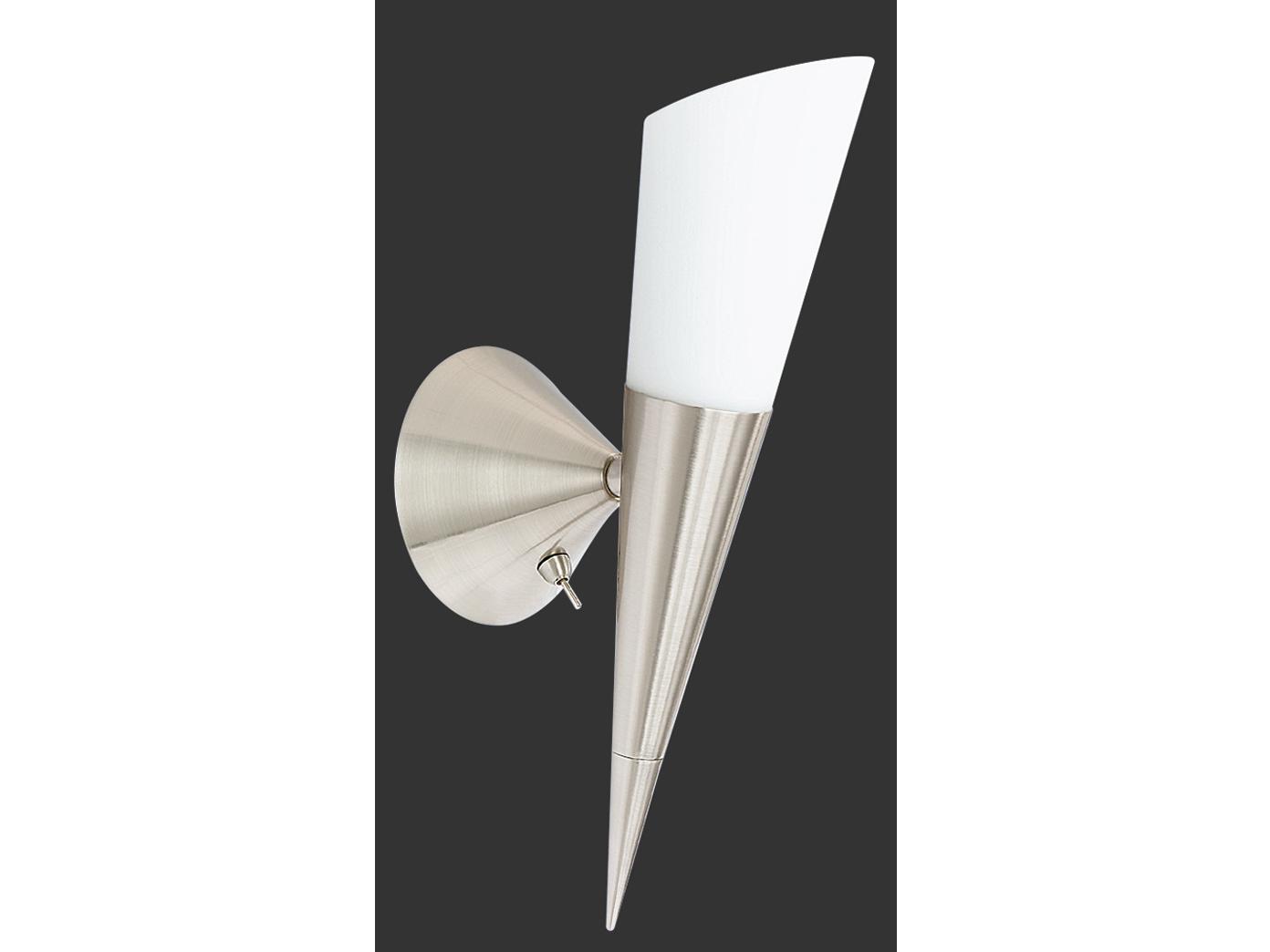 mit Schalter TRIO Wandleuchte 1 x E14 Höhe 35cm Nickel matt