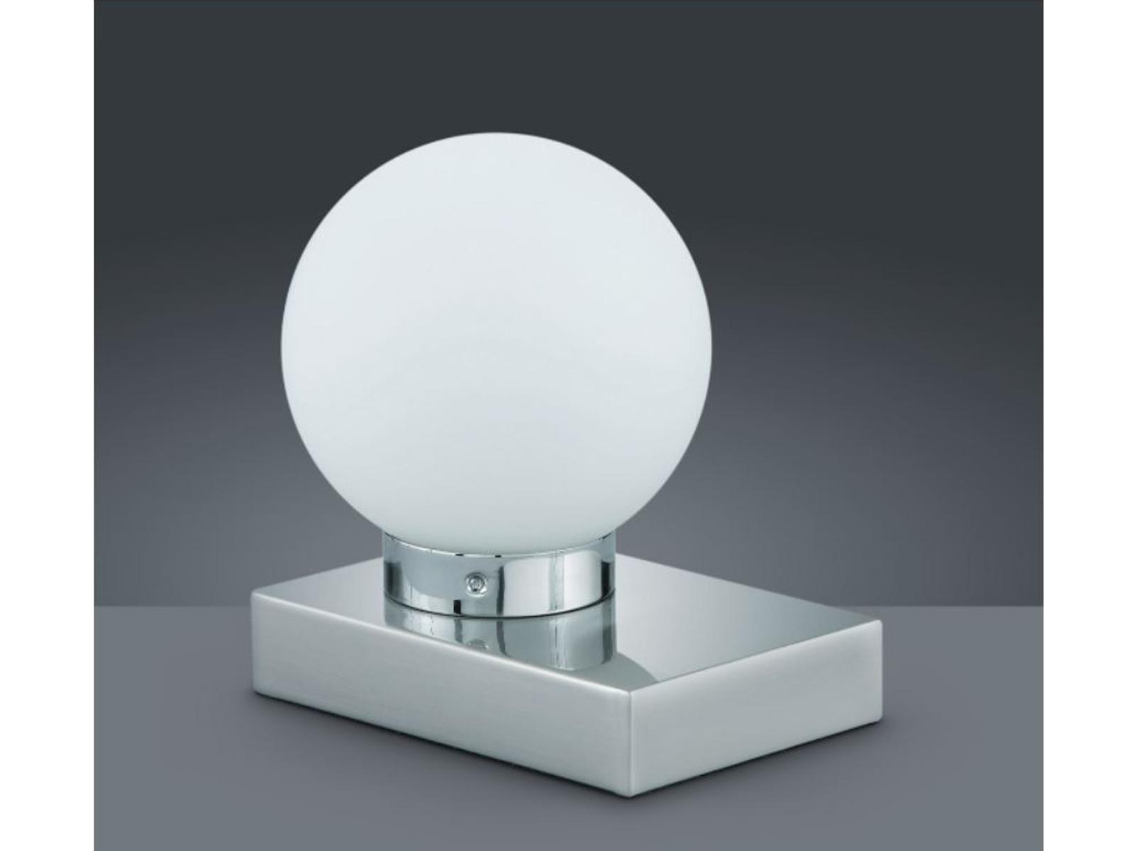 Nickel matt 10 x 15cm E14 TRIO Tischlampe TOUCH-ME Glas weiß
