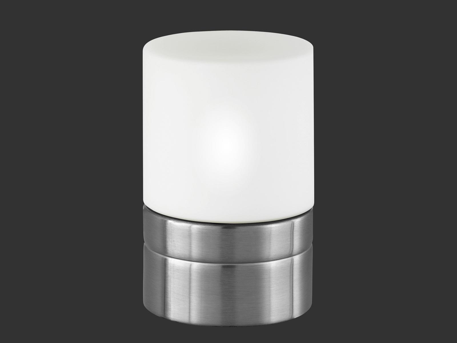 Nickel matt TRIO Tischlampe TOUCH-ME Glas opal weiß Ø 9cm E14