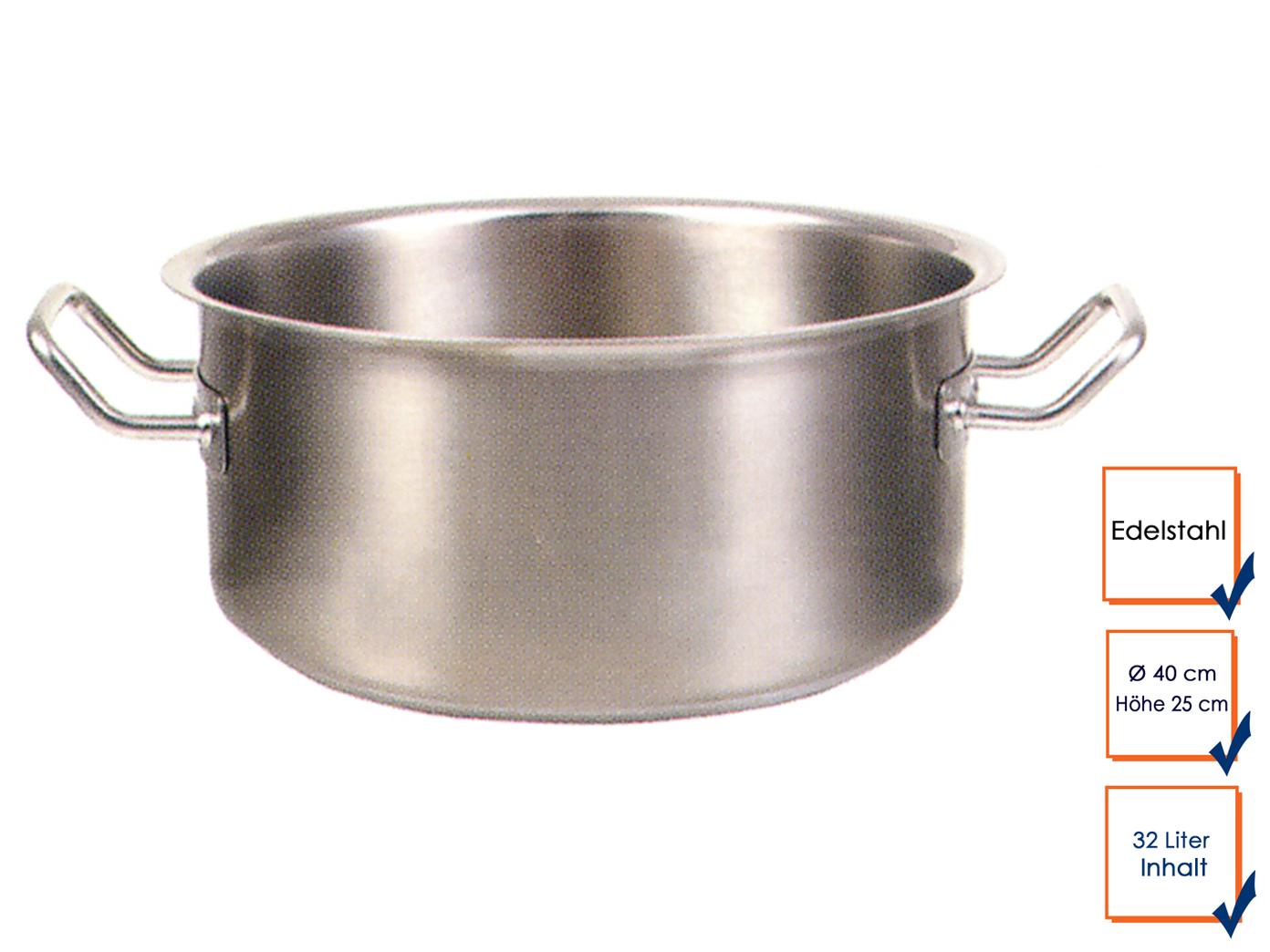 Professionnel en acier inoxydable infâme Bratentopf marmite casserole ø 40cm 32 litres