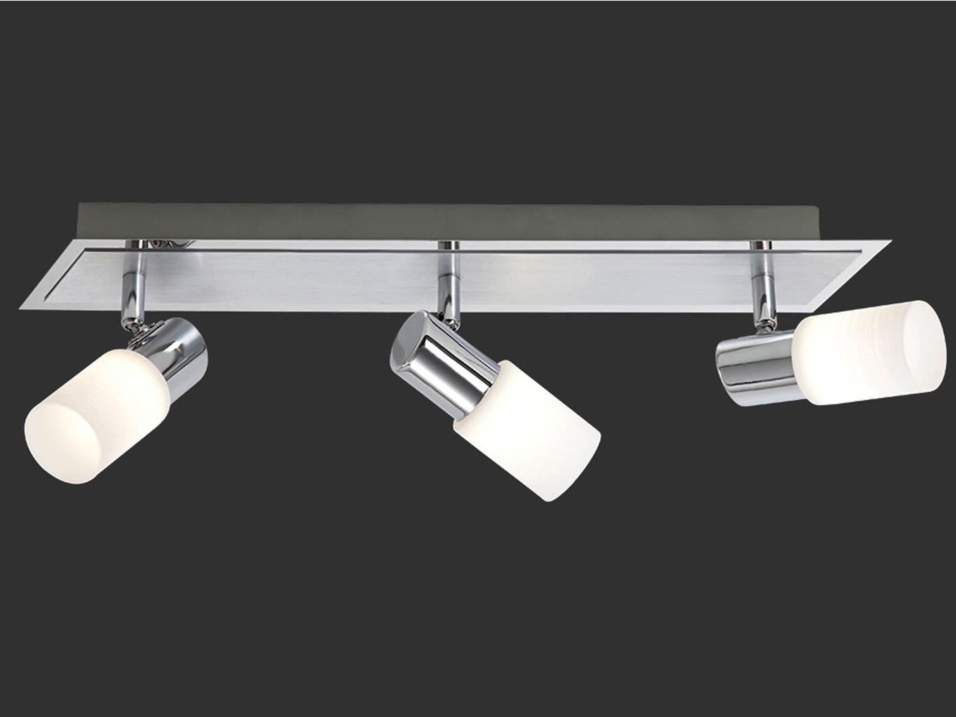 Alu gebürstet 3 x 4,5W Glas weiss gewischt 350Lm Trio LED-Balken
