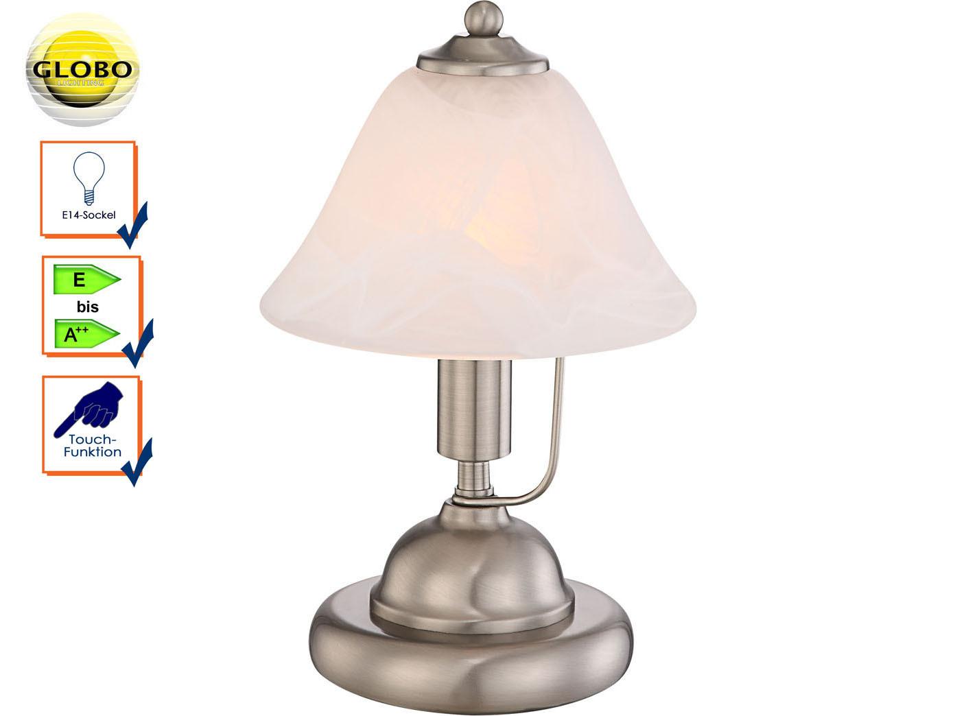 Tischleuchte Nachttisch Design Tischlampe ANTIQUE mit Glasschirm Touchfunktion