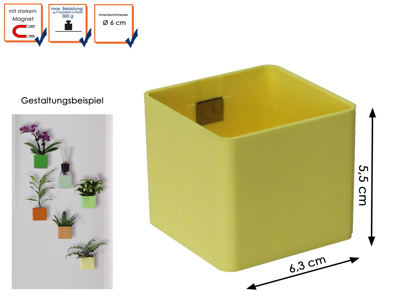 Wandaufbewahrung kunststofftopf avec aimant, mini lanceurs ø 6cm jaune, kalamitica