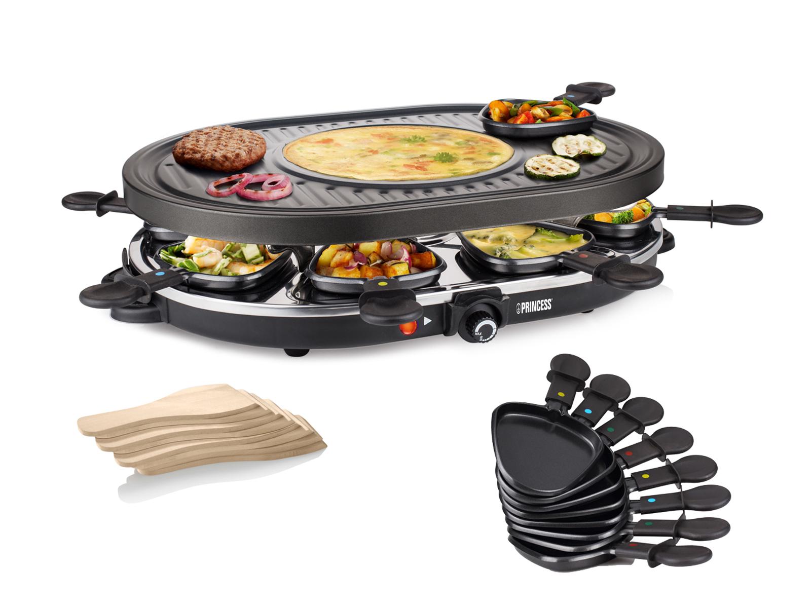 Raclette für 8 Personen mit Crêpefläche Antihaftbeschichtung Thermostat regelbar
