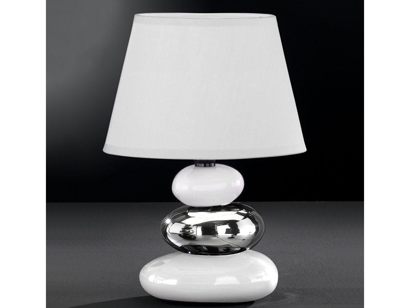 Moderne Nachttischleuchte Stein-Optik Stoffschirm weiß Ø 18 cm Tischlampe