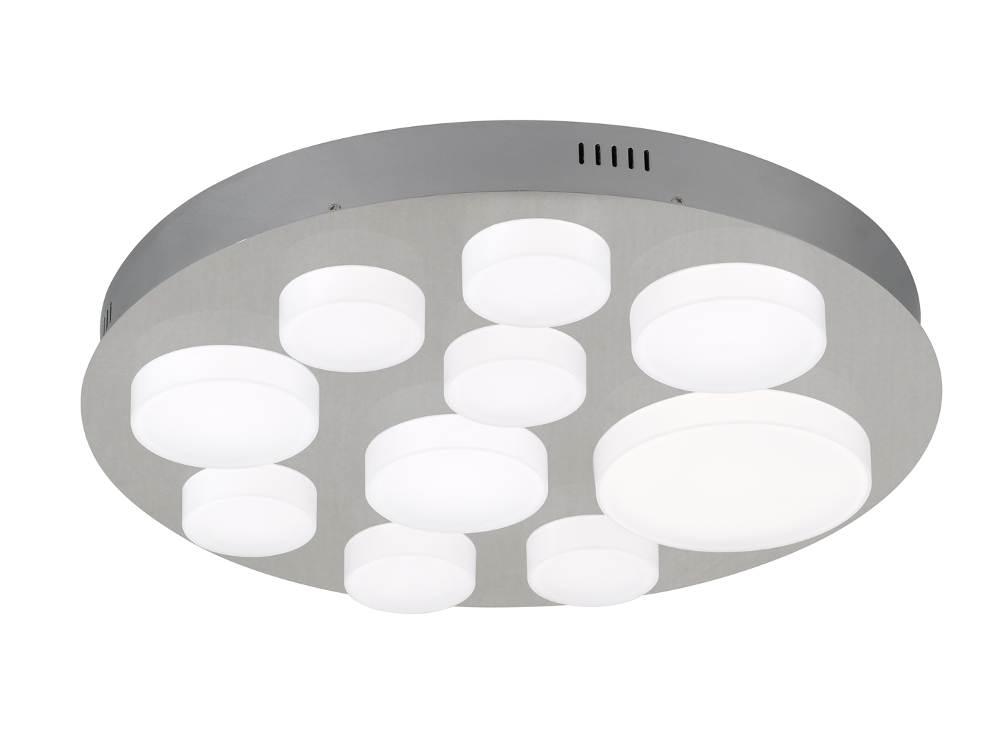 LED Deckenbeleuchtung Rund Dimmbar Nickel Weiss Deckenleuchte Wohnzimmer