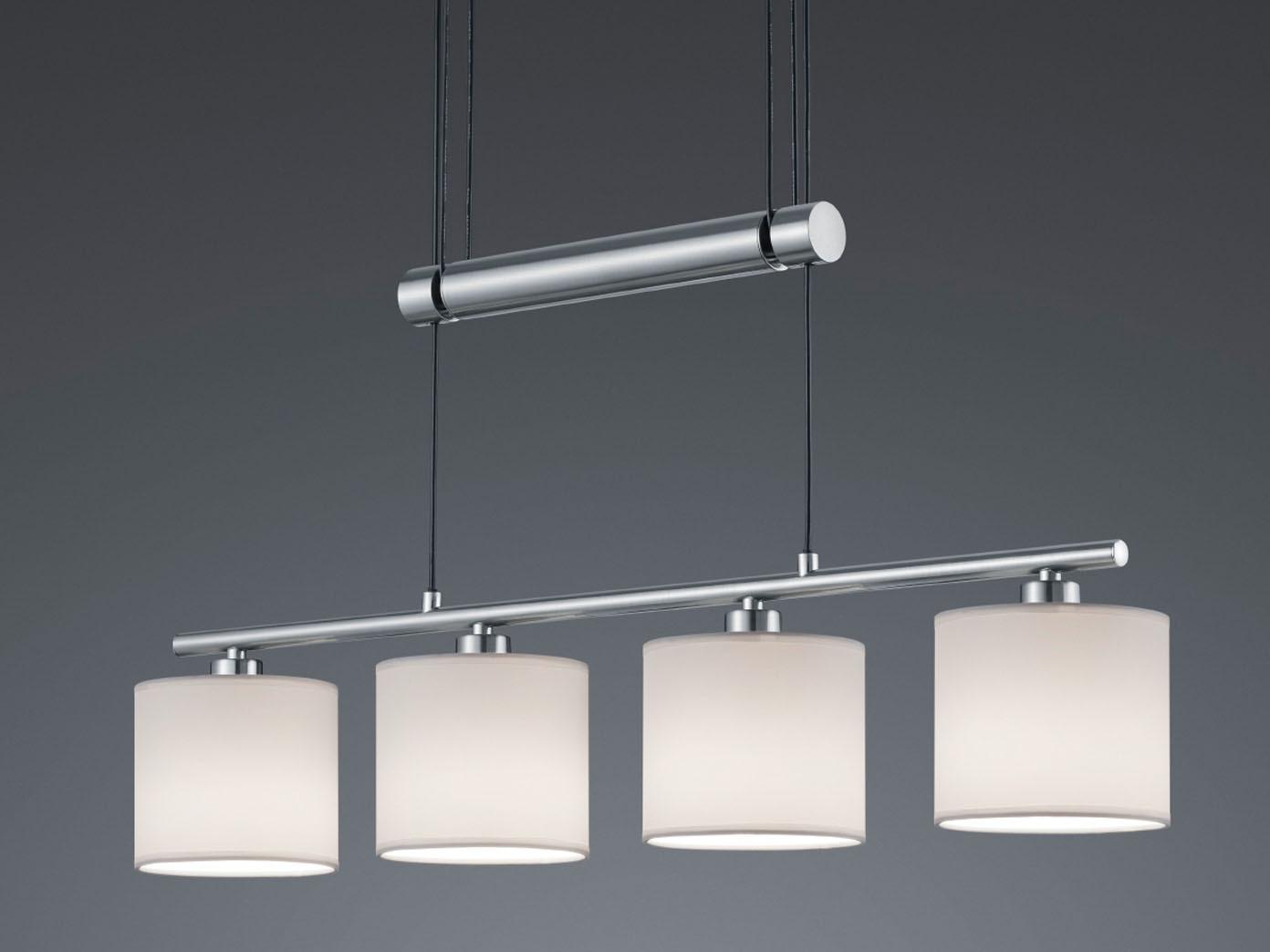h ngelampe garda 4flammig mit led lampenschirme textil. Black Bedroom Furniture Sets. Home Design Ideas