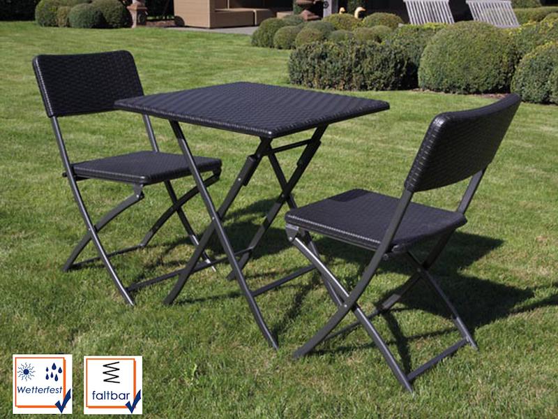 3 Teilige Sitzgarnitur Kunststoff & Stahl Wetterfest