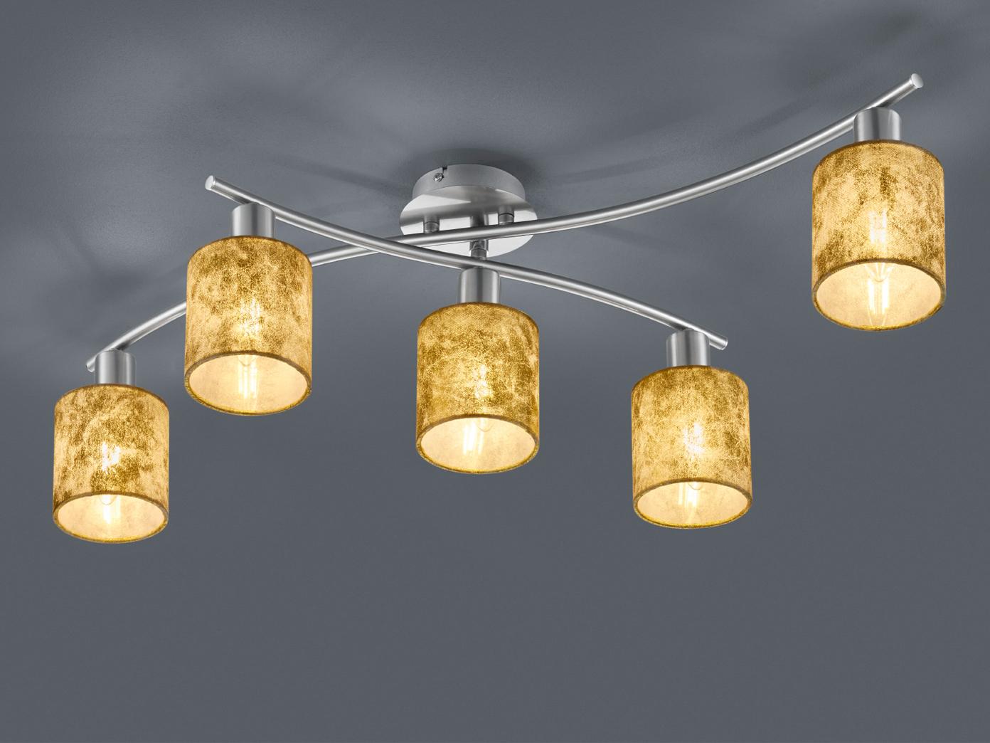 5 bruciatori LED Plafoniera Garda orientabile, sostanza schermi oro, illuminazione soffitto