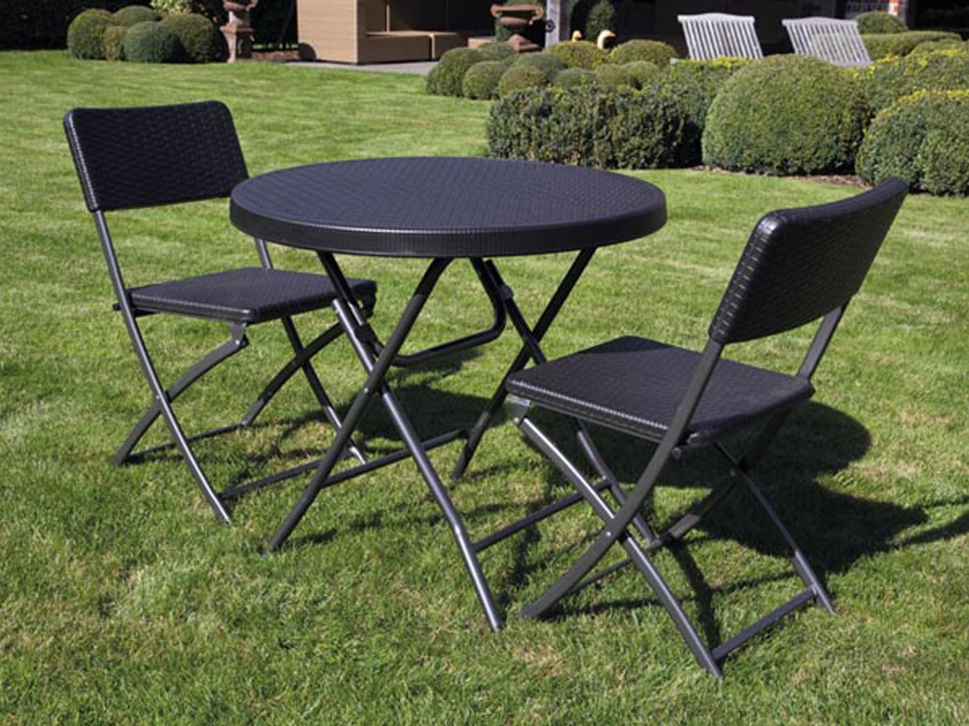 3 teilige schwarze sitzgarnitur wetterfest klappbar. Black Bedroom Furniture Sets. Home Design Ideas