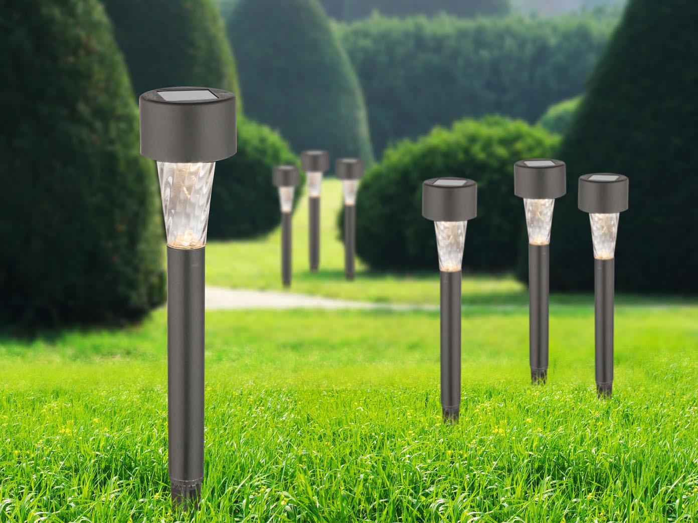 6x Solar Erdspießleuchten Led Edelstahl Anhtrazit Außenlampe Garten