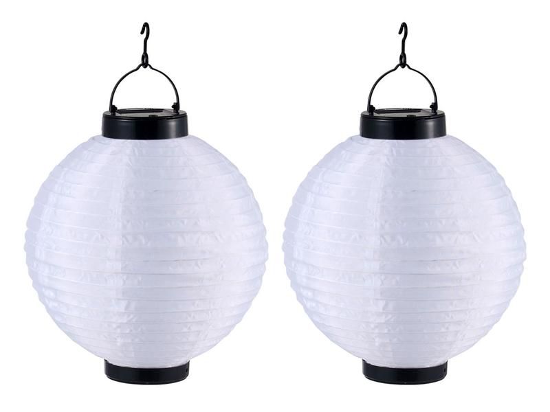 2x au enleuchten lampion solar wei 25 5cm led terrassenlampe gartenbeleuchtung ebay. Black Bedroom Furniture Sets. Home Design Ideas