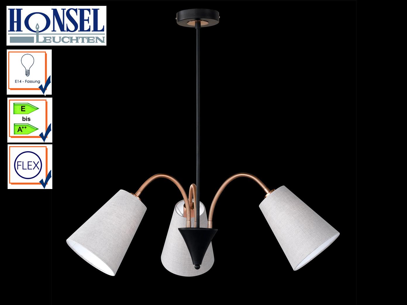 Hangelampe Schwarz Bronze Schirme Fexibel 3 Flammig Hangeleuchten