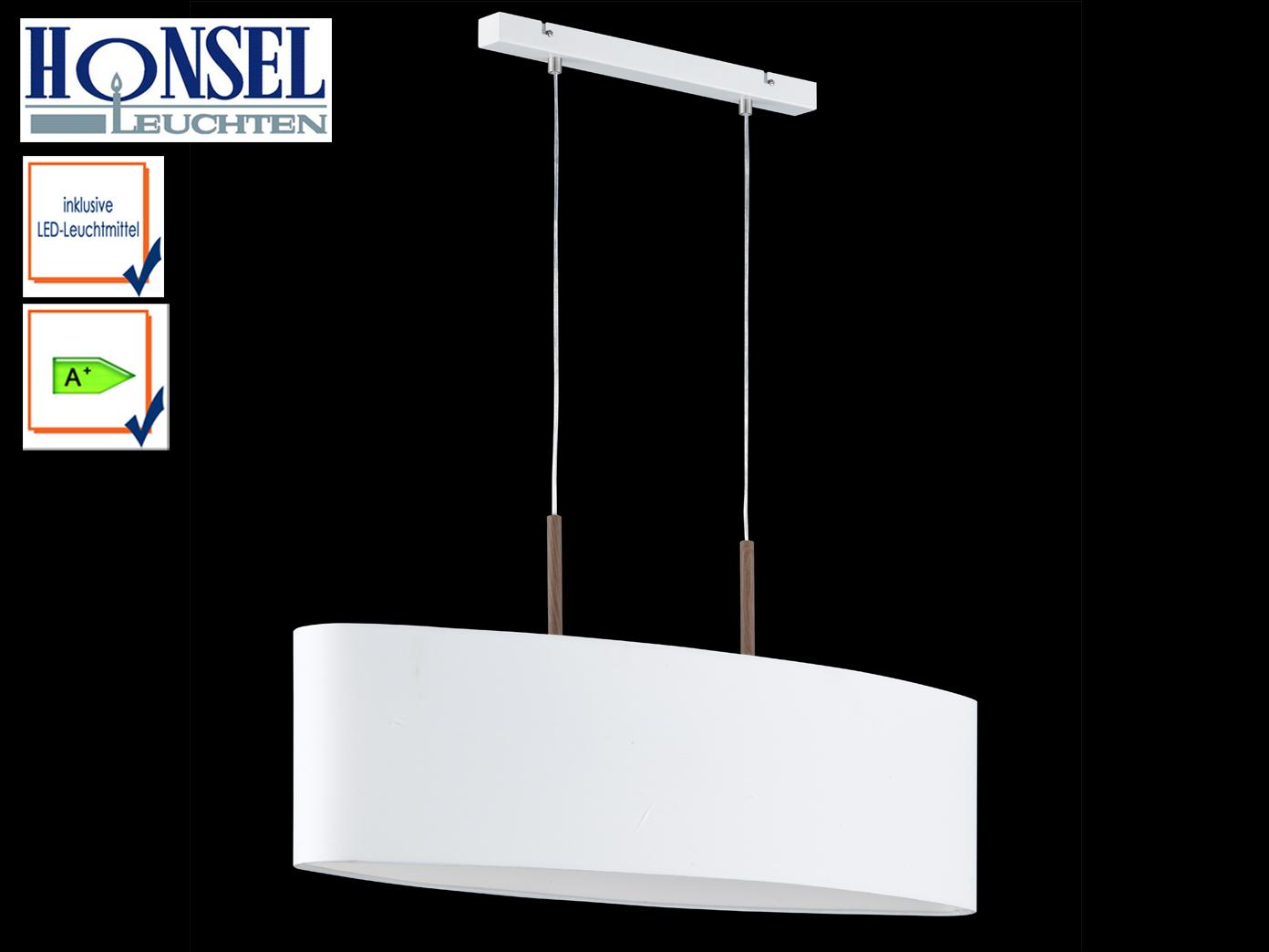Hängeleuchte mit LED weiß Stoffschirm oval Pendelleuchte Esstisch ...