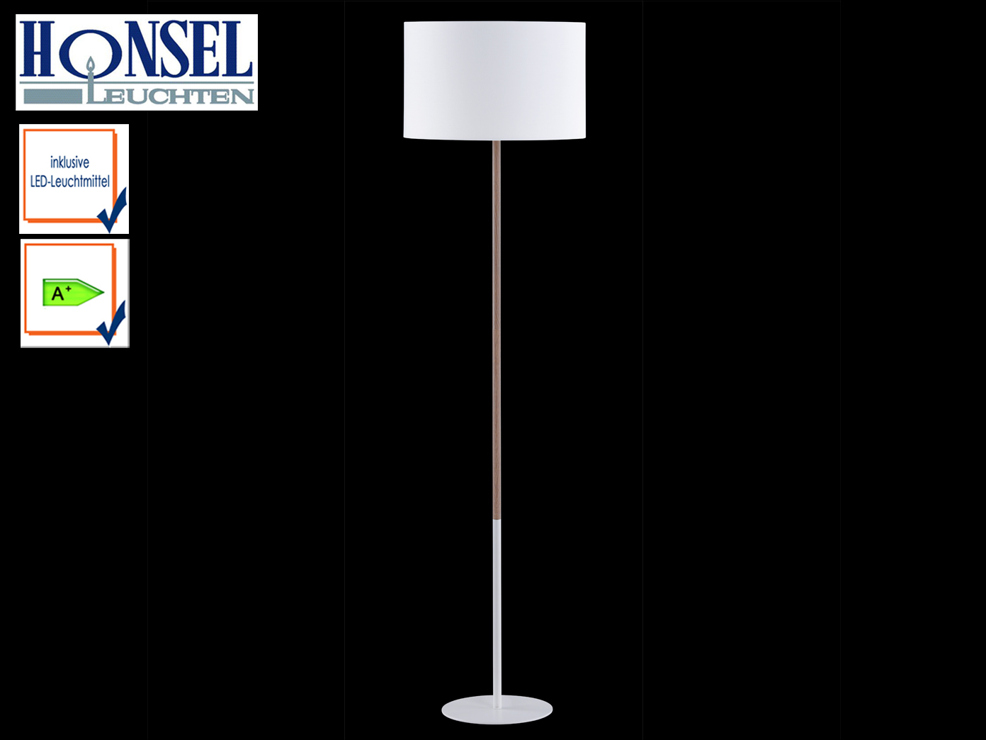 Standlampe-mit-LED-Stoffschirm-weiss-holzfarbig-H-153cm-Stehlampe-Wohnzimmer-Flur