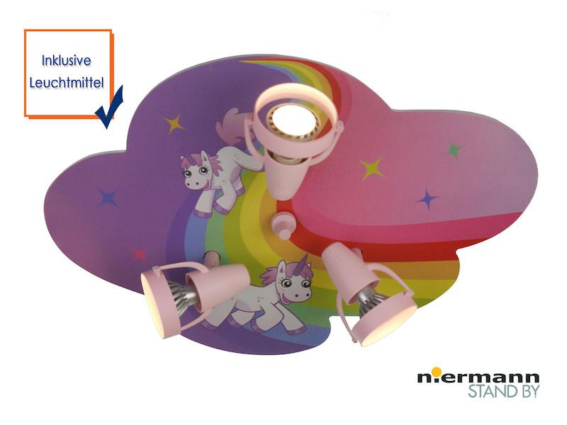 Kinderlampe led einhorn 3 led spots schwenkbar lampe - Deckenleuchte kinderzimmer madchen ...