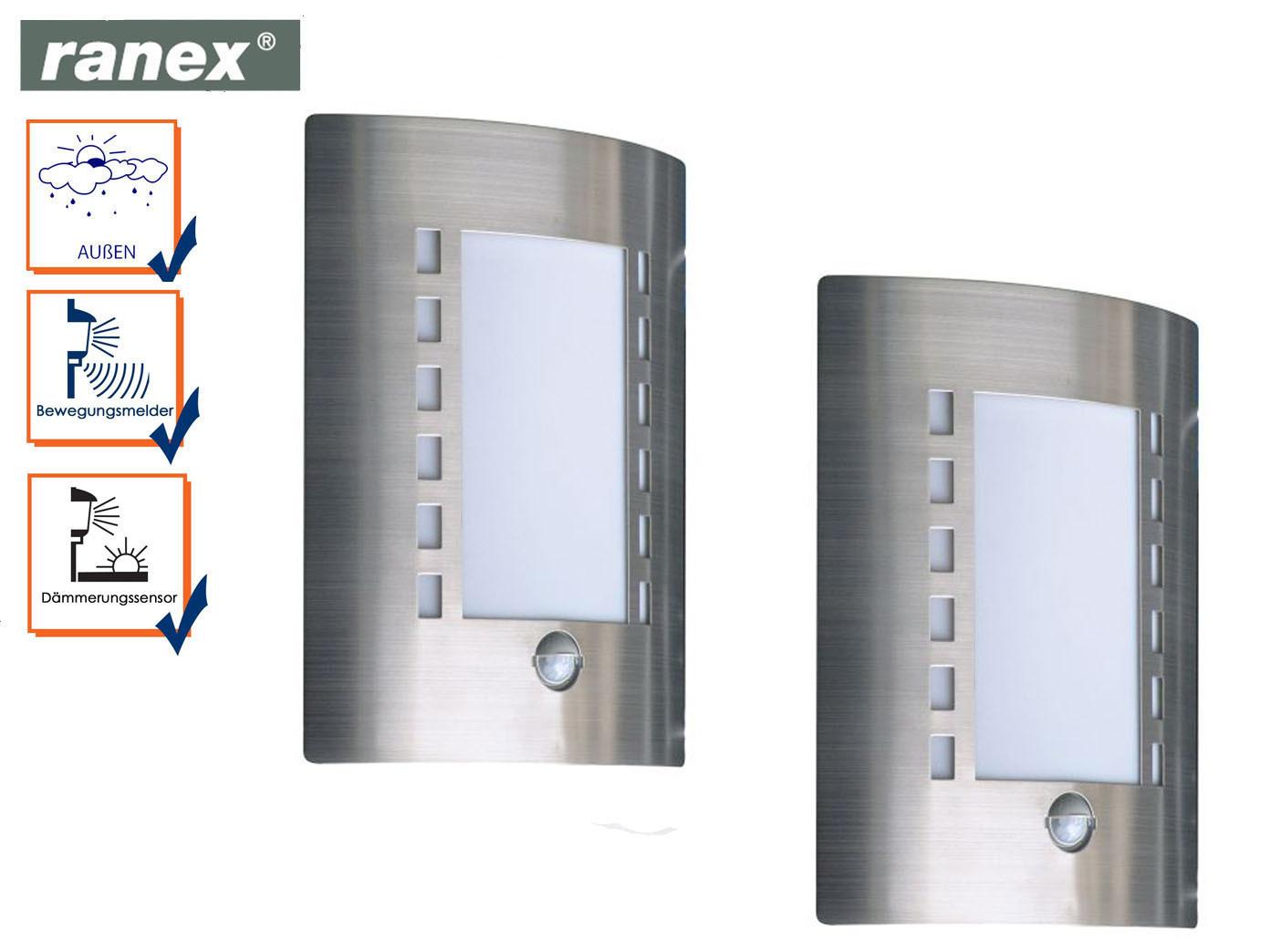 Acciaio esterno luci con rilevatore di movimento applique