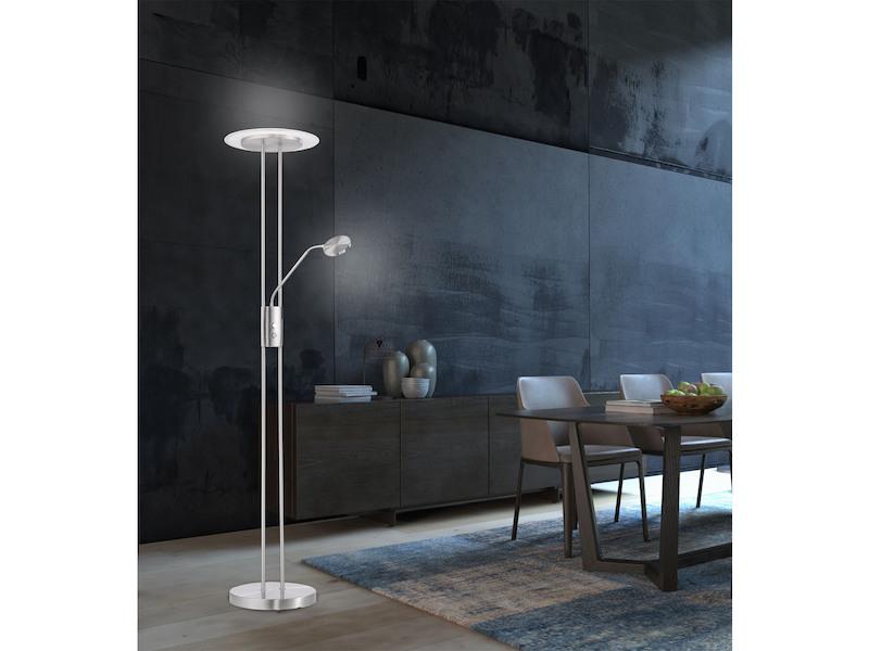 Standlampe mit leselampe led dimmbar h 183cm nickel matt for Leselampe designklassiker