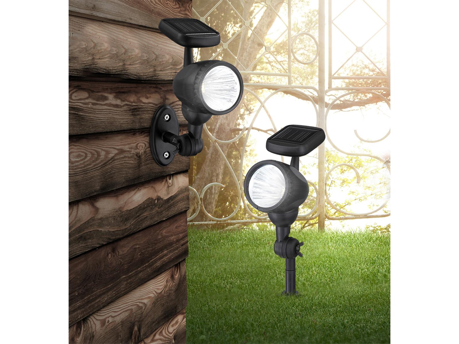 2x led solar gartenleuchten mit erdspie oder. Black Bedroom Furniture Sets. Home Design Ideas