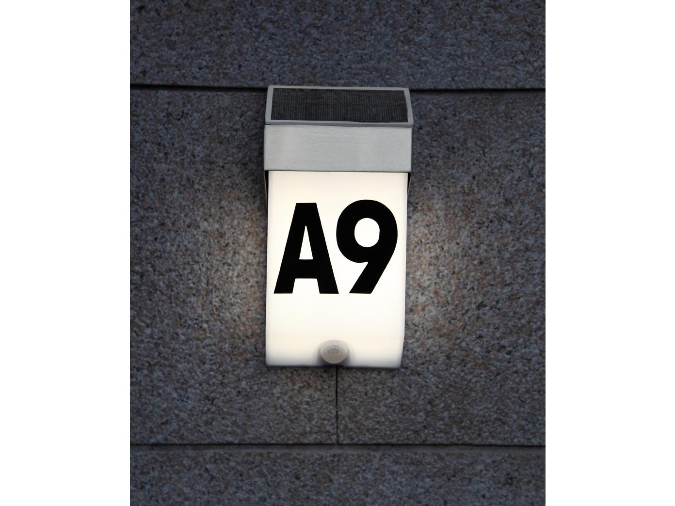LED-Ausenwandleuchte-mit-Solar-Bewegungsmelder-Hausnummern-IP44-Wandleuchten miniatura 7