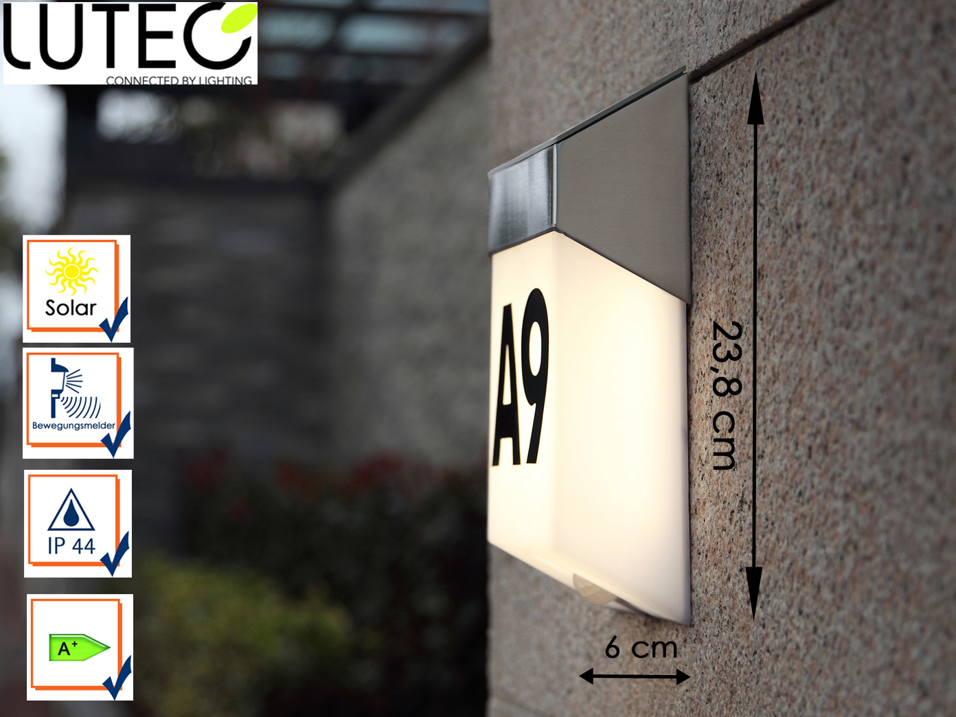 LED-Ausenwandleuchte-mit-Solar-Bewegungsmelder-Hausnummern-IP44-Wandleuchten miniatura 5