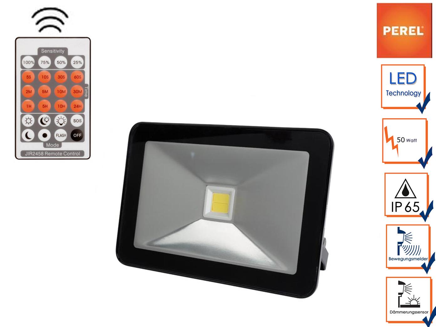 50W LED Flutlicht Strahler mit Bewegungsmelder + Fernbedienung IP65 Außenlampe