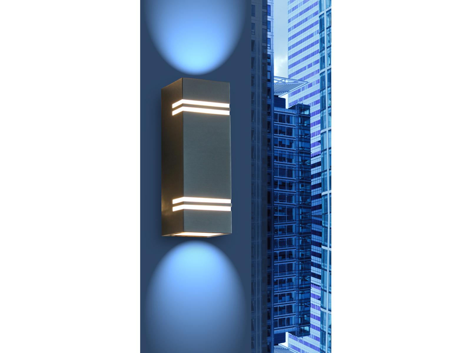 Außenwandleuchte Edelstahl LED IP44 Up & Downlight H. 25cm Außenbeleuchtung Haus