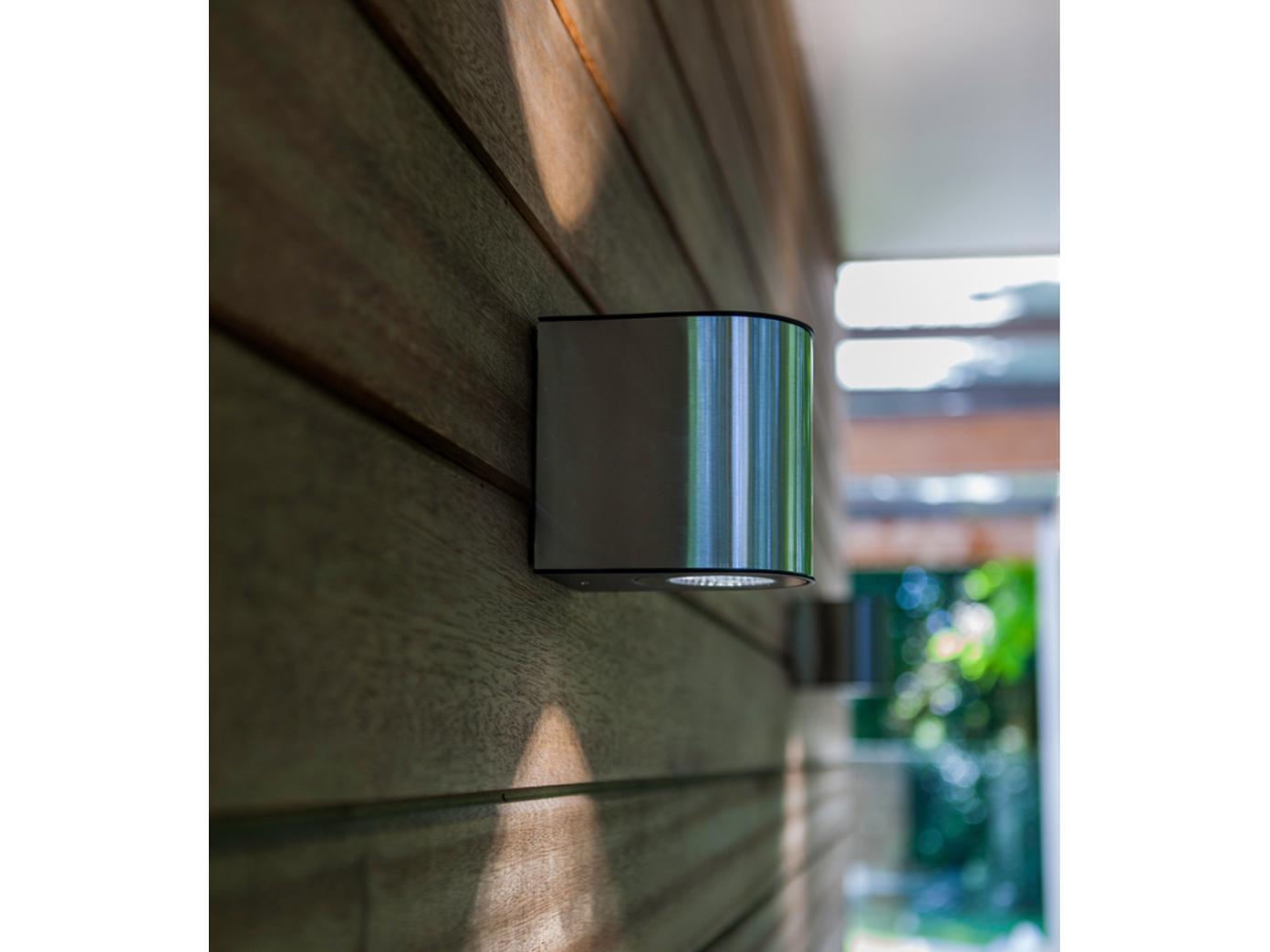 Lampada ESTERNO PARETE LED IN ACCIAIO INOX UP & Downlight H. 13,5cm ip54 vie Lampada da giardino