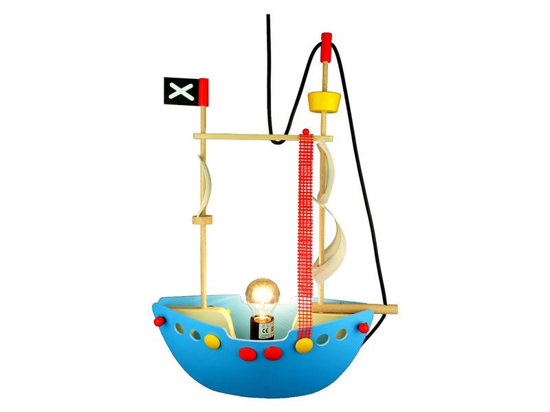 led kinder deckenlampe kinderzimmer piratenschiff h ngelampe led pendelleuchte ebay. Black Bedroom Furniture Sets. Home Design Ideas
