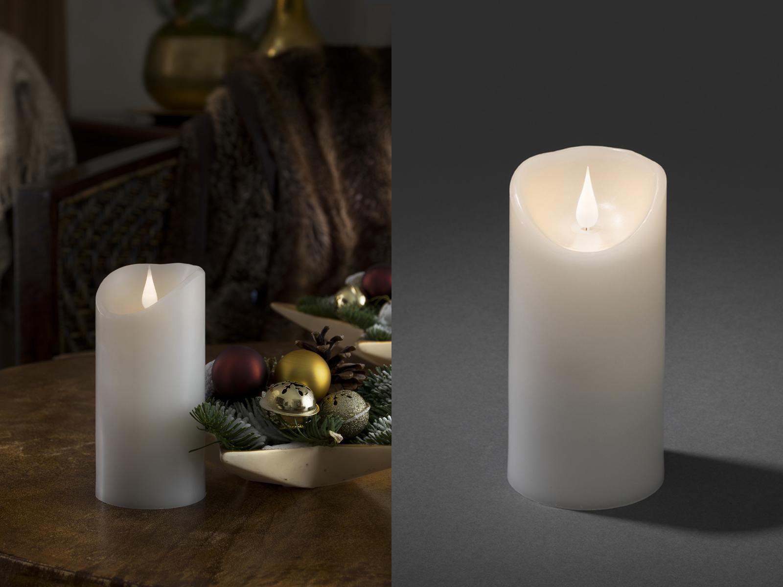 led kerze mit timer h 15 5cm echtwachskerze flackerlicht. Black Bedroom Furniture Sets. Home Design Ideas