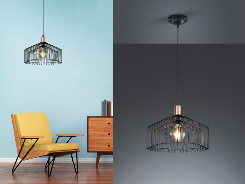 Retro Pendellampe Schwarz mit LED, Design Hängeleuchte Lampenschirm ...