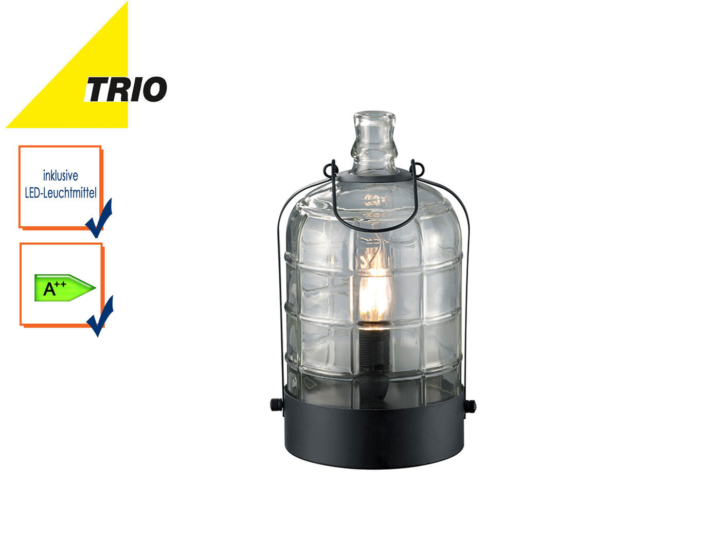 Kleine led tischlampe retro stil tischleuchte glas for Kleine nachttischlampe
