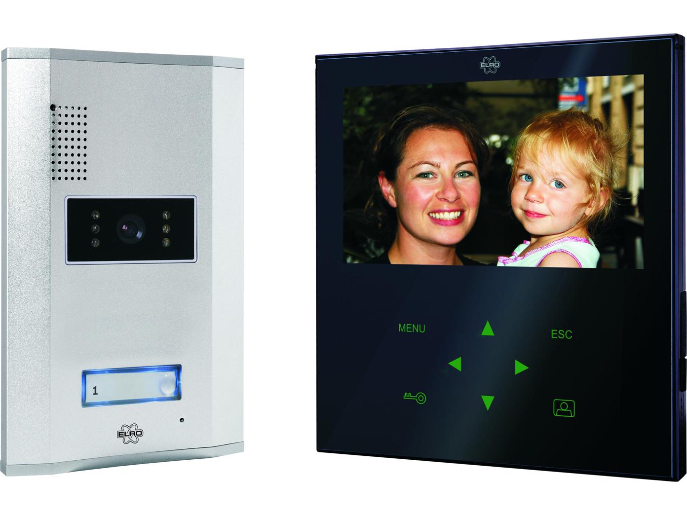 Türsprechanlage mit Farb Touchscreen, Nachtsicht Kamera, Sprechanlage schwarz