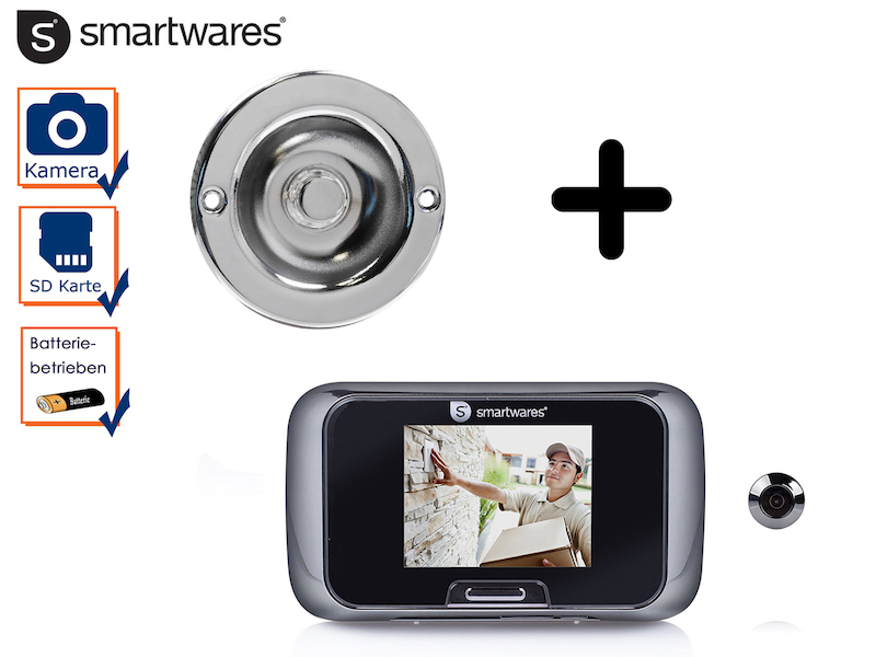 set t rklingel video t rspion mit bildschirm klingelplatte rund guckloch ebay. Black Bedroom Furniture Sets. Home Design Ideas