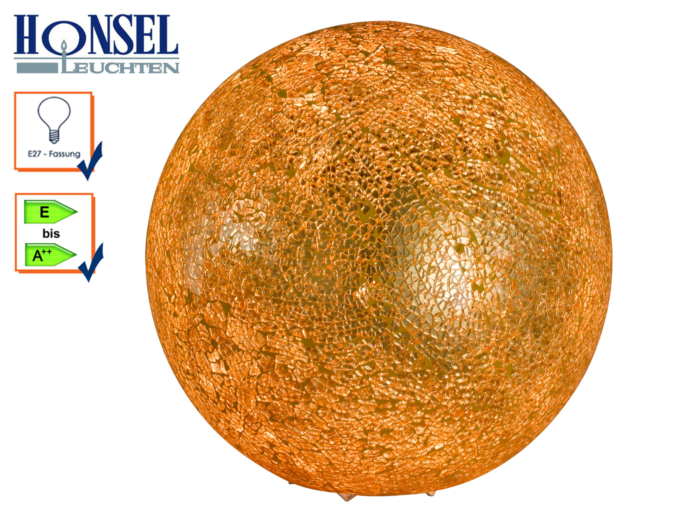 Kugel Tischlampe 25 cm Design Goldfarbig craquele, Flurlampe Wohnzimmerlampe