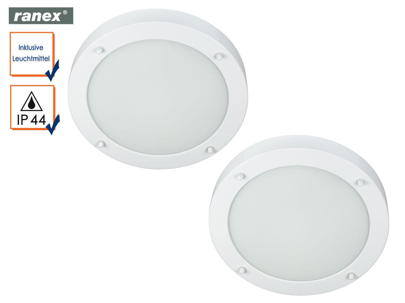 2x Bad Deckenbeleuchtung Runde Badezimmerlampe Weiss Beleuchtung