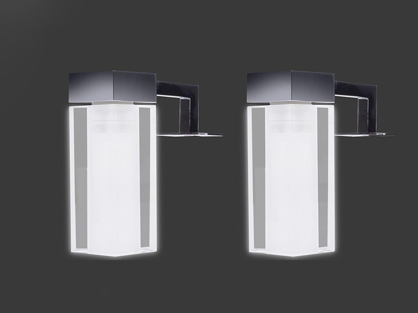 Eckige Lampen fürs Bad, 2x Spiegelleuchten Lampenschirme Glas ...
