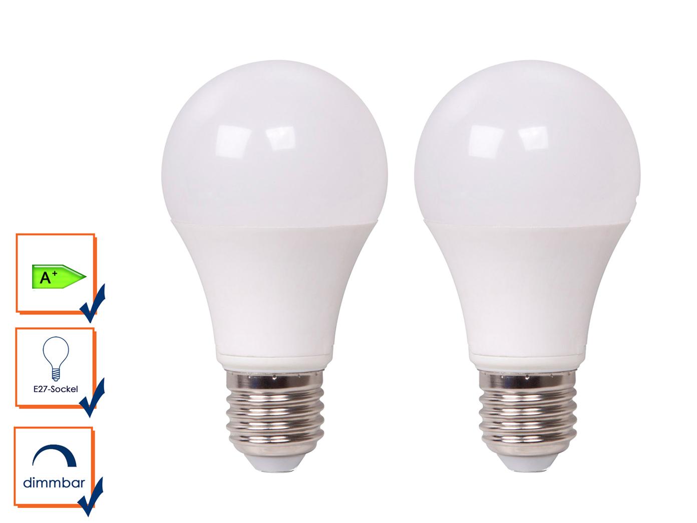 2x led lampe dimmbar 9 watt 806 lumen 2700 kelvin e27 sockel