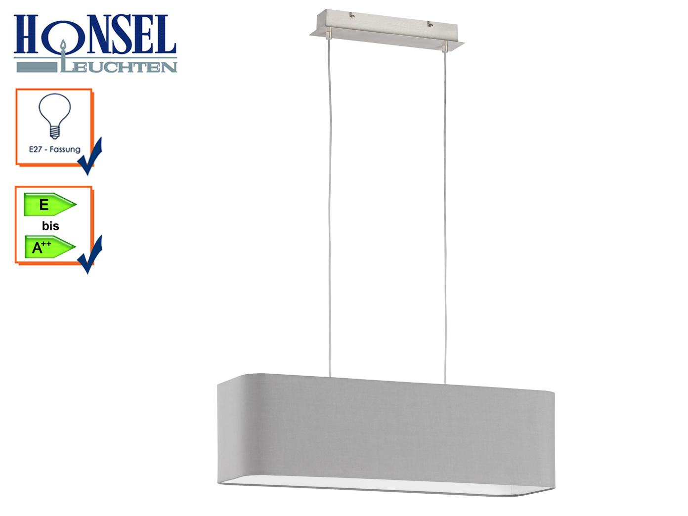 Moderne pendelleuchte stoffschirm 80x25cm grau e27 for Pendelleuchte stoffschirm