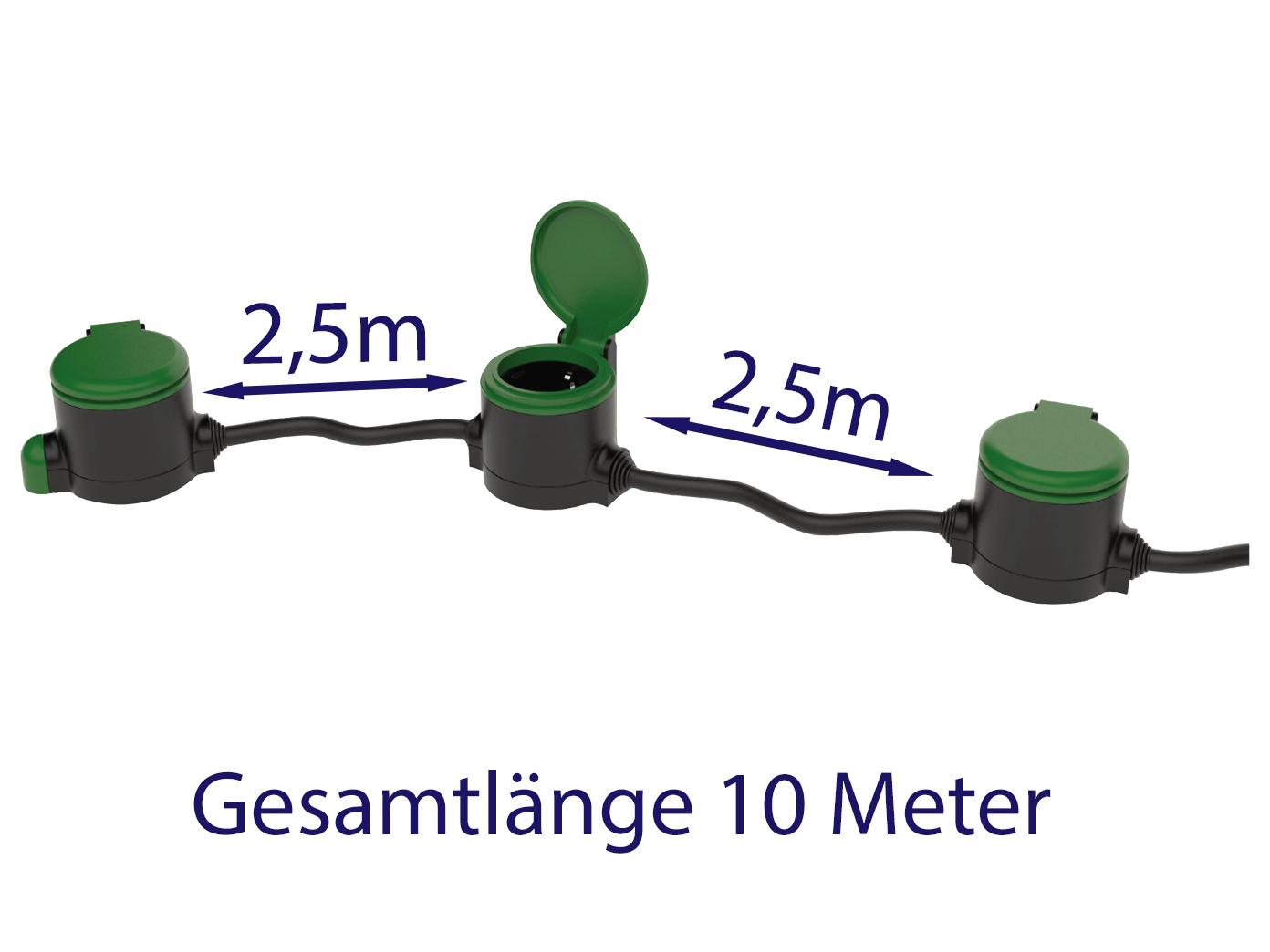 Outdoor Stromverteiler 3x Steckdosen 10 Meter Kabel